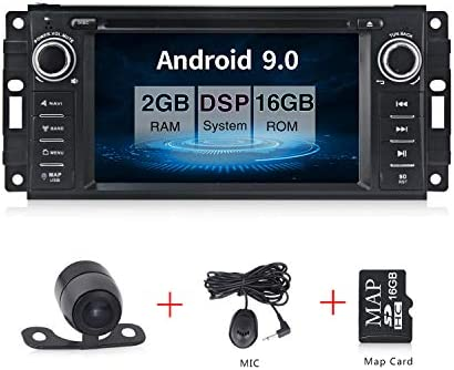 Android 9.0 Car Stereo CD DVD Player in Dash Car Radio Multimedia Player Navigation System with 6.2 LCD Bluetooth WiFi GPS for Jeep Wrangler Dodge Chrysler