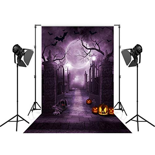 Halloween Photo Backdrop Horror House Scary Scene Backgrounds for Photography 5x7ft Evil Monster Dark Jack-o-Lantern Halloween Party Decorations Hallowmas Banner Halloween Photo Booth Backdrop]()
