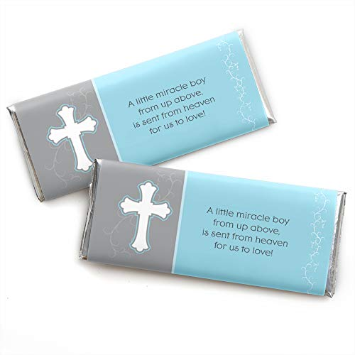 - Little Miracle Boy Blue & Gray Cross - Candy Bar Wrapper Baptism or Baby Shower Favors - Set of 24