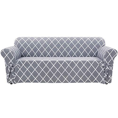 Surefit Lattice Box Cushion Sofa, Pacific Blue