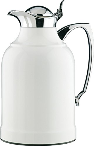 alfi Opal Glass Vacuum Lacquered Chrome Plated Brass Thermal Carafe for Hot and Cold Beverages, 1.5 L, White