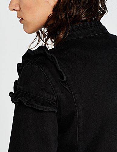 FIND Damen Denimjacke mit Rüschendetail Schwarz (Washed Black) 76pqP8u
