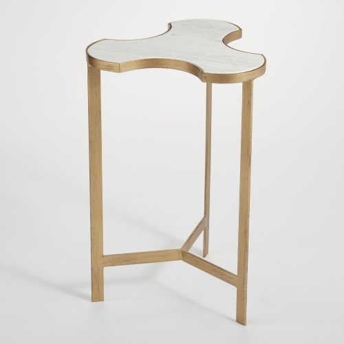Global Views Mid Century Modern Bunching Puzzle Accent Table | Link Gold Metal White Marble