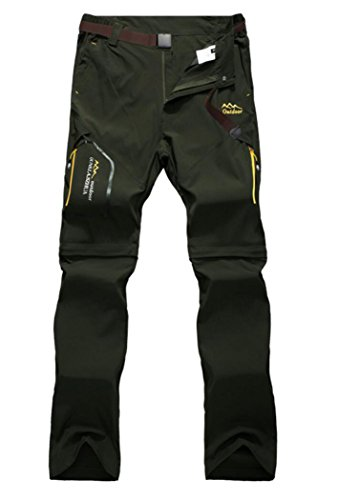 Men's Stretch Convertible Quick-dry Pants Army Green 2XL 3731