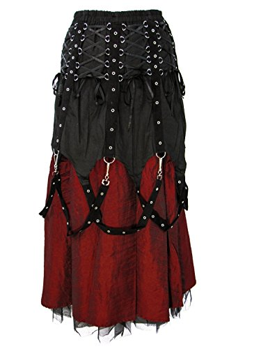 Dark Star Black Red Gothic Medieval Vampire Punk Chains Long Skirt M-2X Plus Size by Darkstar