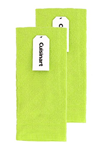 Cuisinart Kitchen, Hand and Dish Towels - Premium 100% Cotton Terry, Lime – Soft, Absorbent, Quick Drying and Machine Washable Tea Towels – Sweater, Set of 2, 16 x 26 Inches
