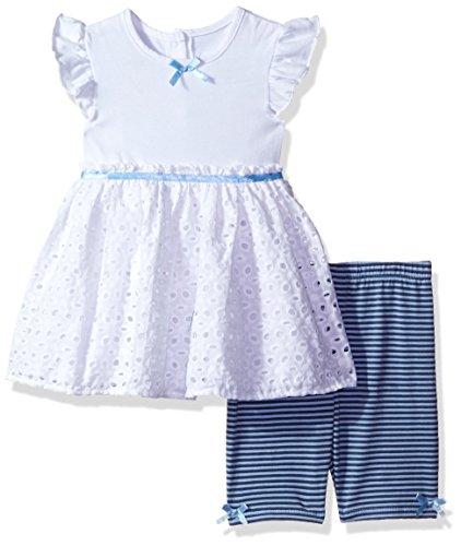 Cherokee Girls' Toddler' Jersey Tunic with Eyelet and Bike Short Set, White, - Cherokee Girls Skirt