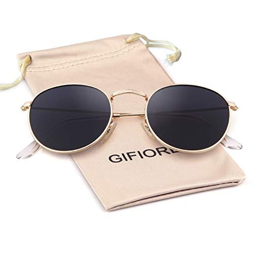 Round Sunglasses Polarized Sunglasses For Women Men Reflective Sunglasses 3447 ((Round) Gold Frame/Grey Polarized Lens)