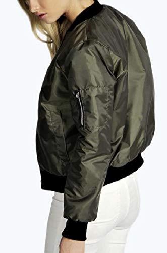 Green Jacket XINHEO Short Closure Stand Zipper Women's up Collar Baseball Blackish vnPFqTvw