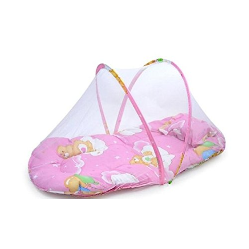 Nets with Small Portable Folding Baby Cushion Back Pillow Baby Mosquito Net (75*45*40*cm)