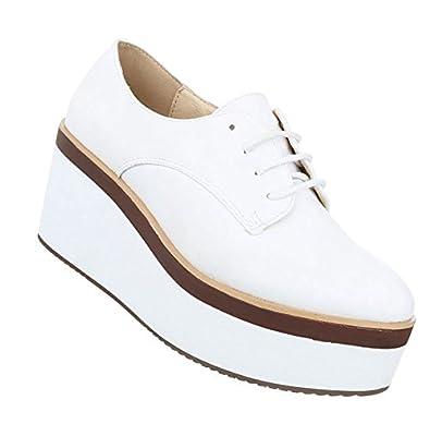Damen Halbschuhe Schuhe Schnürer Elegant Weiß 39 DOlLcL