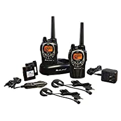 Gear up for the outdoors without sacrificing communication with the Midland GXT1000VP4 GMRS Walkie Talkie. It is a waterproof radio that provides clear point-to-point communication, with superior reception, transmission, and sound quality. Th...