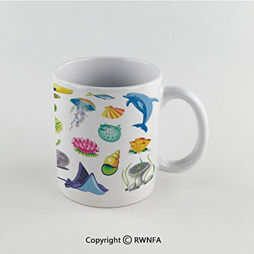 (11oz Unique Present Mother Day Personalized Gifts Coffee Mug Tea Cup White Marine,Sea Animals Octopus Dolphin Shells Stingray Crab Turtle Jellyfish Wildlife Graphic,Multicolor Funny Ceramic Coffee Te)