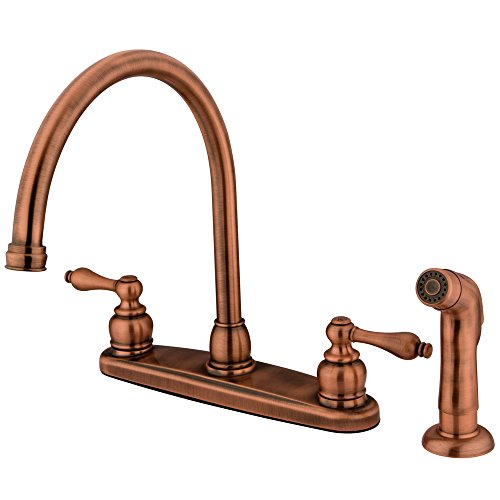 Elements of Design Victorian EB726ALSP Goose Neck Kitchen Faucet with Non-Metallic Sprayer, Vintage Copper by Elements of Design