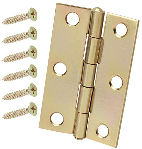 3 in. Satin Brass Non-Removable Pin Narrow Utility Hinges (2-Pack)