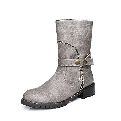AllhqFashion Damen Niedriger Absatz Eingelegt Rund Zehe Ziehen auf Stiefel mit Metallisch Grau