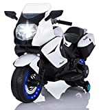 TAMCO Kids Motorcycle Electric Ride On Toy Motorcycle with Lighting Wheels, MP3 Music Playing, 2 Training Wheels, 2 Side Box for Child 3-6 Years Old Max Load 66LB