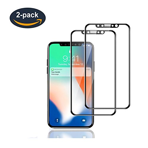 iPhone X Screen Protector, TINDERALA (3D Touch) iPhone X Tempered Glass, 0.28MM Ultra Thin Tempered Glass Screen Protector, Privacy Screen Protector Full Cover for Apple iPhone 10 ( 2 Packs ) - Black (Thin Ultra Glass)