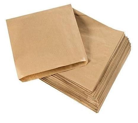 200 bolsas para alimentos de papel kraft, 20 x 20 cm, color marrón, 8.5 x 8.5 inch