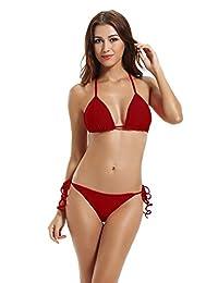 Zeraca Women's Tie Side Pantie Triangle Bikini Set