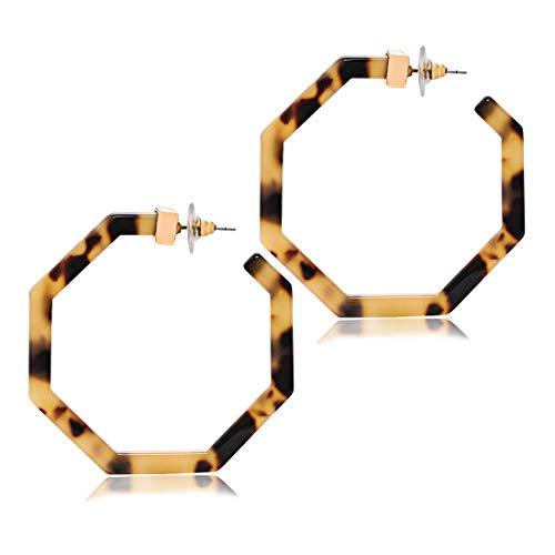 Brown Plastic Earrings - XOCARTIGE Hoop Earrings Premium Acrylic Earrings for Women Bohemia Tortoiseshell Resin Dangle Earring for Girls (I Leopard)