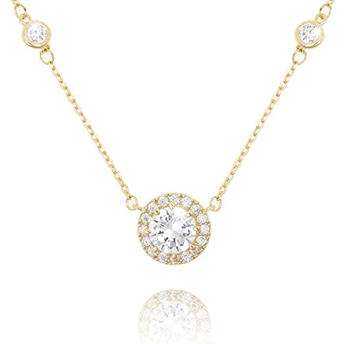 COZLANE Gold CZ Round Halo Cut Cubic Zirconia Station Pendant Necklaces Gift Jewelry for Mother's Day