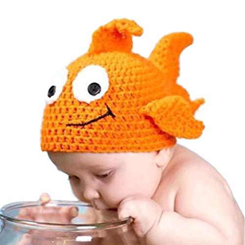 (Shark strawberry Cute Baby Newborn Photography Props Goldfish hat Costume Crochet Knitted hat)