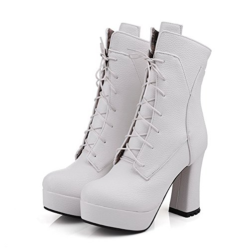 AmoonyFashion Womens High-Heels Closed Round Toe Blend Materials Low Top Boots White wtLtZK9VrX