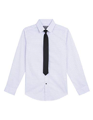 Van Heusen Boys Long Sleeve Dress Shirt and Tie Set, Triangle Print 10