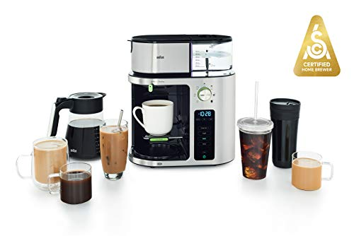 Braun MultiServe Machine 7 Programmable Brew Sizes / 3 Strengths + Iced Coffee, Glass Carafe (10-Cup), Stainless Steel…