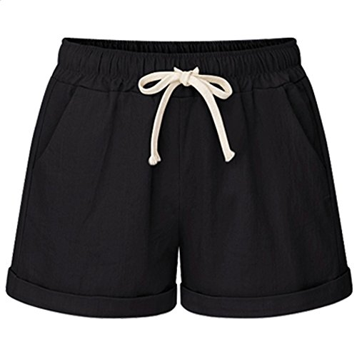 XinDao Women's Elastic Waist Casual Comfy Cotton Linen Beach Shorts with Drawstring Black USM/Asia 4XL