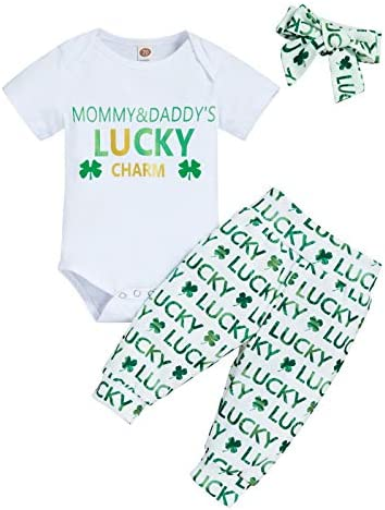 Unisex Baby St. Patrick's Outfit Infant Girl Romper Pants Clothes