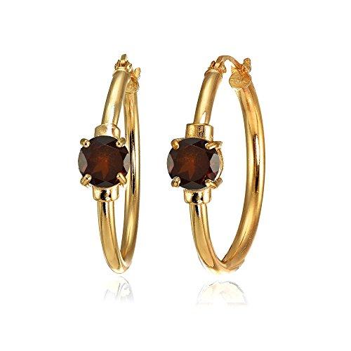 Rose Gold Flashed Sterling Silver Garnet Solitaire 25mm Hoop Earrings