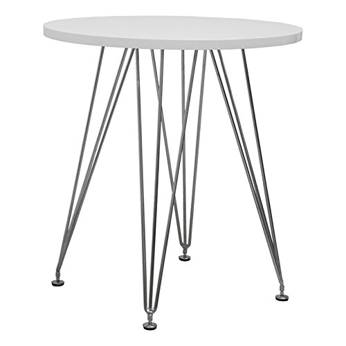 Mod Made Mid Century Modern Paris Tower Round Table Bistro Table, White For Sale