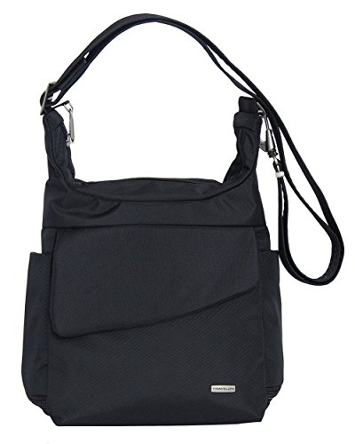 Travelon Anti-Theft Messenger Bag (BLACK W/FLORAL LINING)