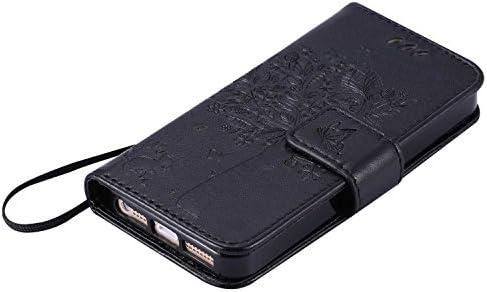 OMATENTI iPhone SE/iPhone 5 / iPhone 5s ケース 手帳型ケース ウォレット型 カード収納 ストラップ付き 高級感PUレザー 押し花木柄 落下防止 財布型 カバー iPhone SE/iPhone 5 / iPhone 5s 用 Case Cover, グリーン