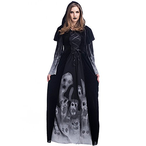 Boleyn Witch Gothic Costume Sexy Vampire Halloween Vintage Dress for Women (Modern Vampire Girl Costume)