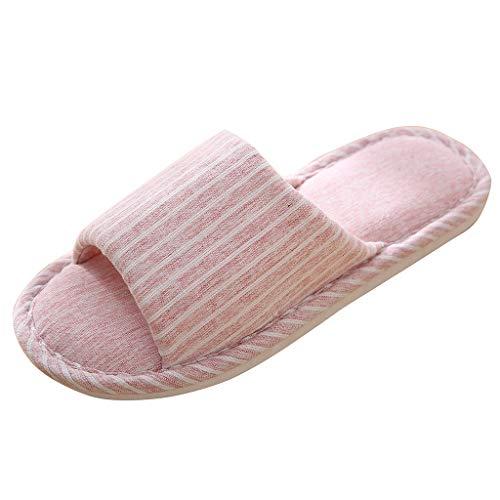 (Sherostore ♡ Open Toe Cotton Linen Slippers Comfy Memory Foam Summery House Slippers Indoor Unisex for Men and Women)