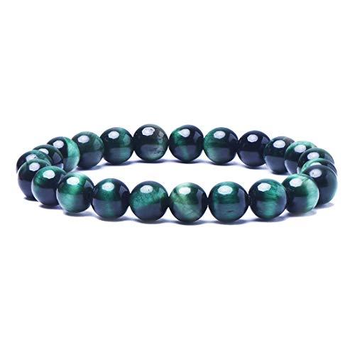 (Tigerstar Handmade Gemstone Beaded Stretch Tiger Eye Bracelet, Precious 8mm Round Beads Bracelet Yoga Energy Healing Stone Wrist Bracelet for Men and Women (Green))