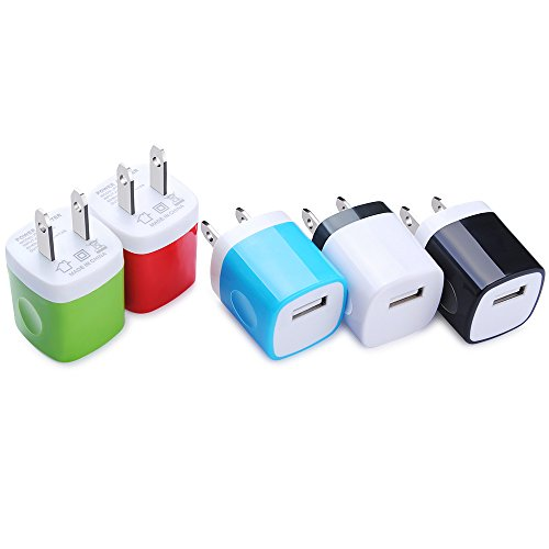 USB Wall Charger, Kakaly 5-Pack Universal Wall Charger AC Power Charging Adapter Plug Cube Block Box Compatible with iPhone X/8/7/6/6S Plus,Samsung Galaxy, HTC, LG, Huawei, Google Nexus, and More