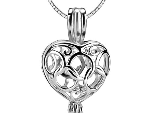 3pcs Silver 925 Heart Love Pendant Women Fine Jewelry 925 Sterling Silver Pearl Locket - Akoya Brooch Pearl