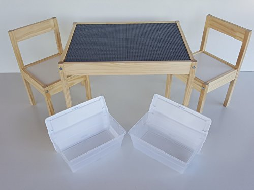 Awesome Deluxe Large Grey Lego Table   Includes Chairs And 2 Storage Bins By SCS  Custom Woodworks