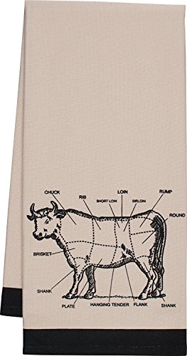 NWT Gourmet Classics Bisque COW Chef's Cut Chart Design Kitchen Towel 20x30