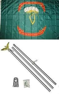3x 51st Regimiento irlandés Brigade Irlanda bandera poste de aluminio Kit Set Premium Vivid color y UV decoloración mejor jardín Outdor Decor lienzo resistente al cabecera y poliéster MATERIAL bandera