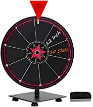 T-SIGN 12 Inch Heavy Duty Spinning Prize Wheel, 10 Slots Tabletop Prize Wheel Spinner, 2 Dry Erase Markers and