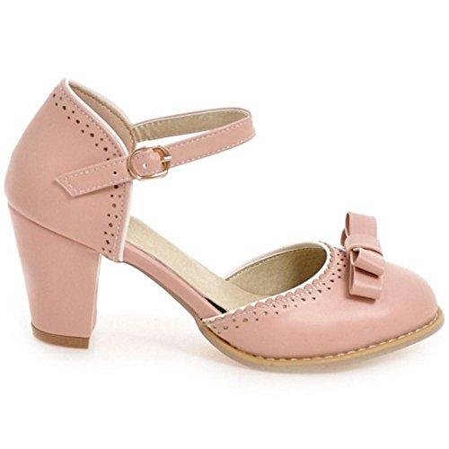 Tacon Zapatos Mujer Para RAZAMAZA de Ancho Pink vOwqn7x8