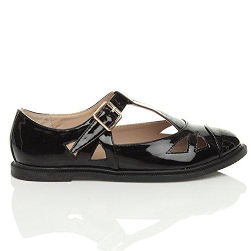 Damen Flach Mary Jane Schnalle Ausgeschnitten T-Riemen Ballerina Schuhe Größe Schwarzes Glanzleder
