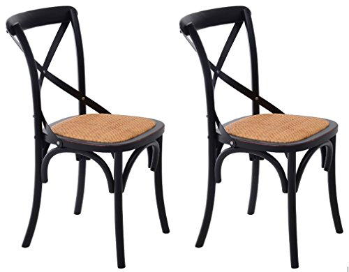 Cheap HomCom Vintage-Style X Back Elm Wood Dining Chair – Set of 2 (Black)