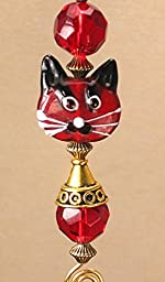 Blushing Red Cat Lampwork Glass Ceiling Fan Pull / Light Pull