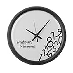 CafePress Whatever, I'm Late Anyways Wall Clock Large 17 Round Wall Clock, Unique Decorative Clock